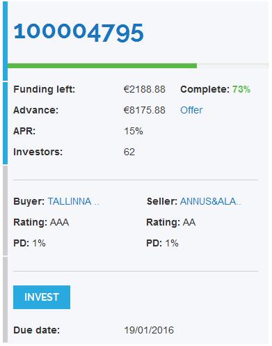 Erstes Investly Invoice Finanzierungsangebot
