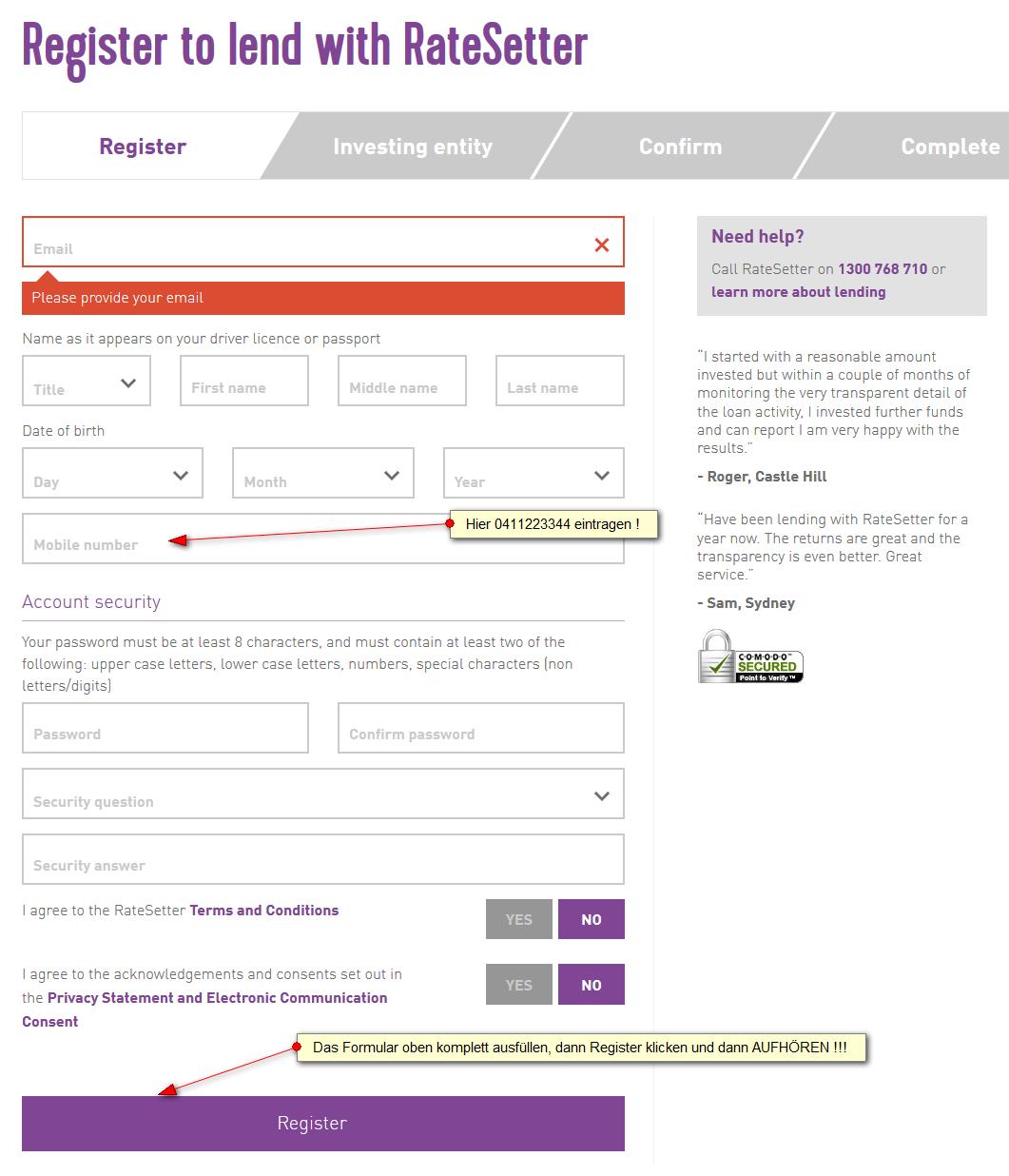 Ratesetter Australien Registrierung